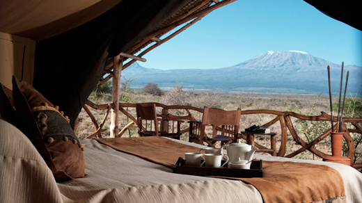 View of Mount Kilimanjaro from Interior of Satao Elerai Tent - Kenya