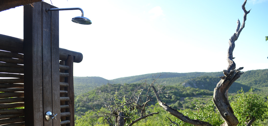 The outdoor shower at Phinda