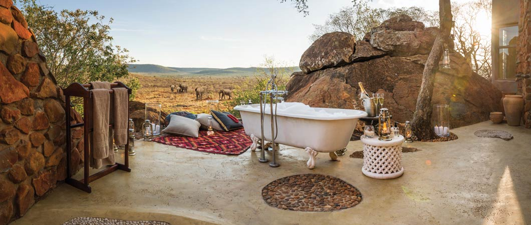 Try out a Honeymoon Bath at Madikwe Hills Private Game Lodge
