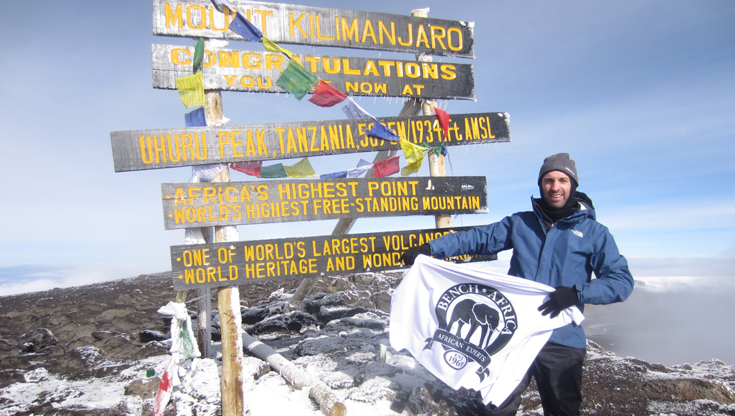 Bench Africa, Martin Edwards at the summit of Mount Kilimanjaro