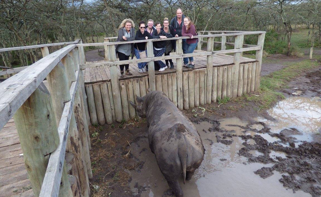 Our group with Baraka - The Blind Rhino at Ol Pejeta