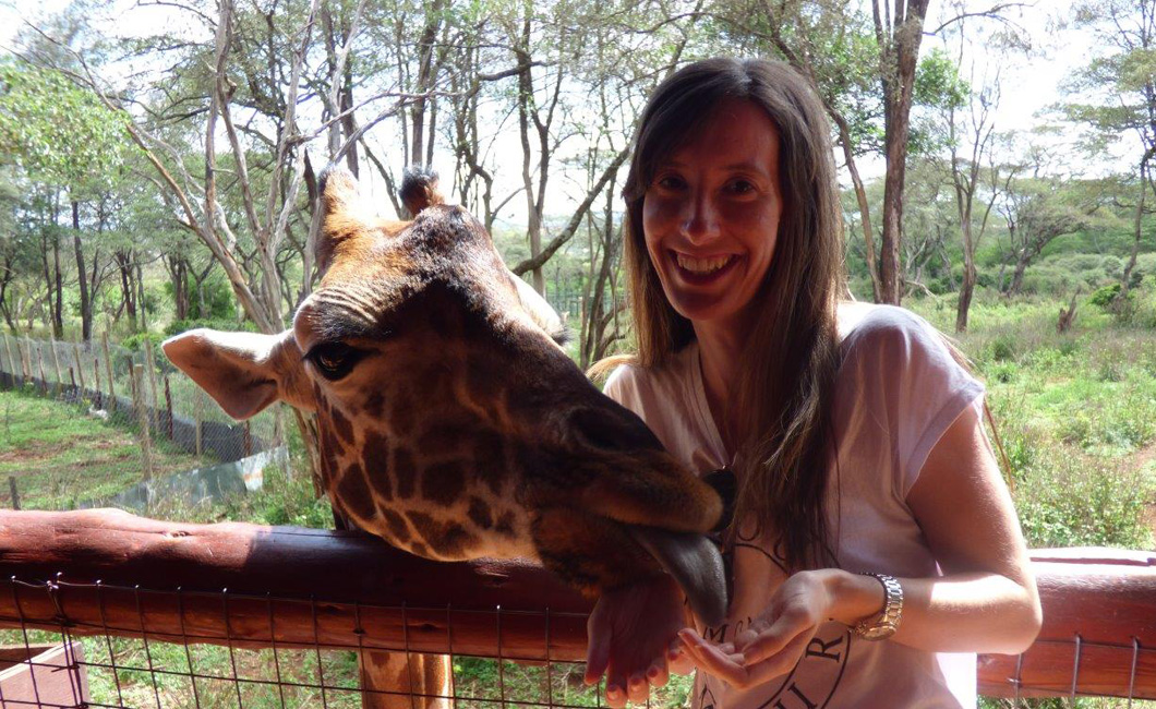 My new (very tall) friend at The Giraffe Centre