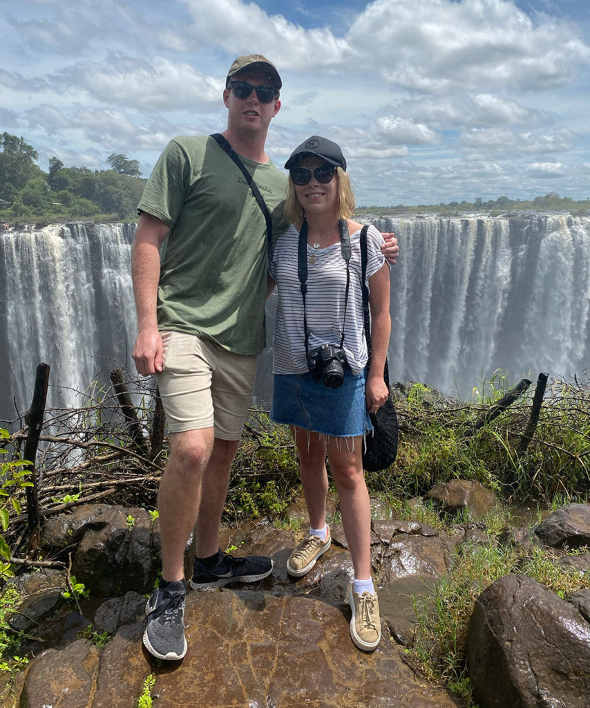 Being cooled down by the mist from the magnificent Victoria Falls. The sheer size and sounds of this natural wonder of the world is mindblowing!