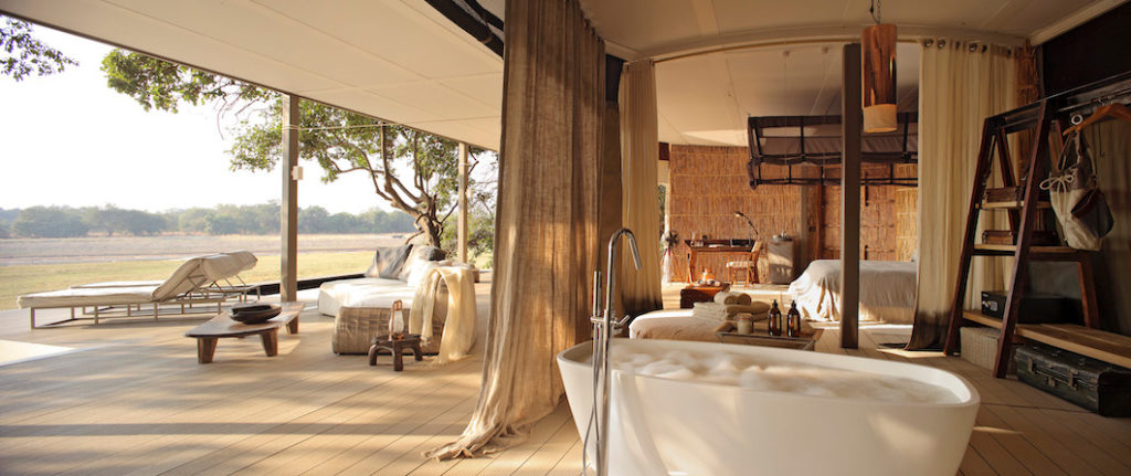 Chinzombo is situated on the sweeping curve of the Luangwa River in the animal-rich area of South Luangwa National Park. With the river in front of the lodge and the bush behind, the location offers the perfect spot for safari. The luxurious camp retains its bush authenticity with grass and canvas walls and spacious living areas. Chinzombo offers 6 villas, one of which is a 2-bedroom villa perfect for families or small groups. Each villa has its own private pool, cooled sleeping area, and spacious bathroom.