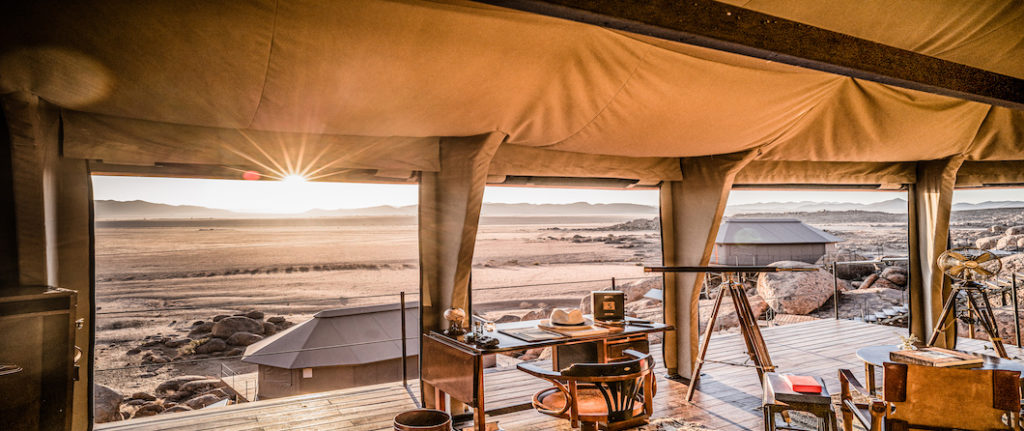 Sonop is a luxurious, colonial-inspired, tented camp located on the edge of the Namib desert. With stunning panoramic desert landscapes and constructed on top of 10 boulders, the 10 spacious tents aim to offer a unique journey through time.